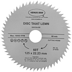 DISC TAIAT LEMN 125 X 22.23 MM - 60 T