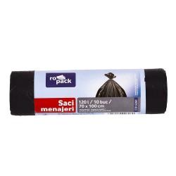 SAC MENAJER LDPE NEGRU 120 L, 10 BUC (ROPACK)