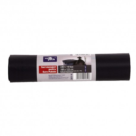 SAC MENAJER LDPE NEGRU 240 L, 10 BUC (ROPACK)