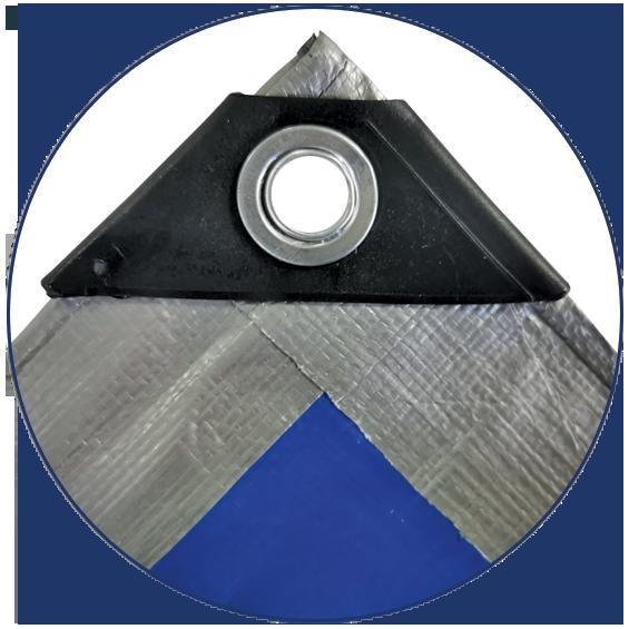 Prelata cu inele 10 x 15 m - 180 g/mp - argintiu-albastru