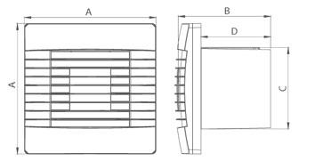 Ventilator prestige jaluzea gravitationala, intrerupator pe fir (180x180 mm), dt-100 mm, 01-026