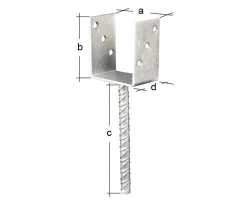 "Papuc reazem tip ""U"" cu picior pt. lemn 91x100x60x4 mm / 16x200 mm (J-CSB-91)"